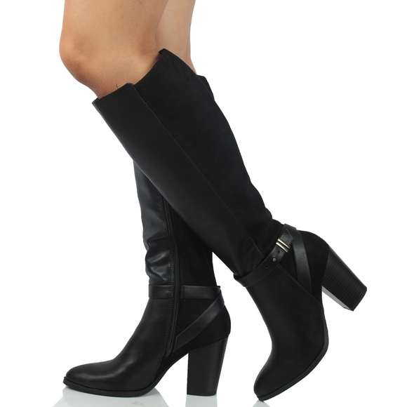 2d8e11174ab Black Faux Leather Faux Suede Knee High Boot